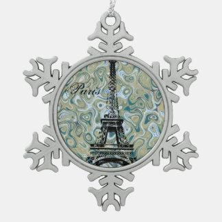 Het Marmeren Blauwe Ontwerp van Parijs Tin Sneeuwvlok Ornament