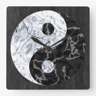 Het marmeren Symbool van Yin Yang Vierkante Klok