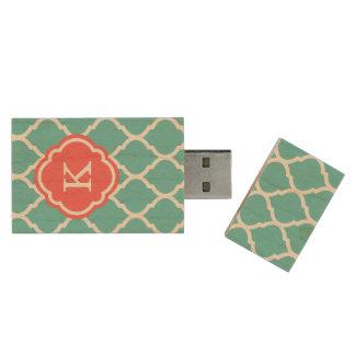 Het Marokkaanse Monogram Quatrefoil van het Houten USB Stick