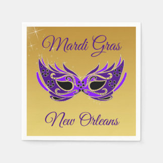 Het Masker van Gras New Orleans van Mardi op Goud Wegwerp Servet