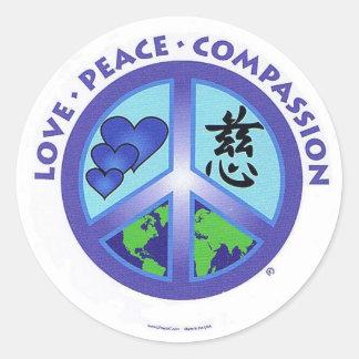 Het Medeleven van de Vrede van de liefde Ronde Sticker