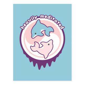 Het mediteren van Dolfijnen met Yin Yang Briefkaart