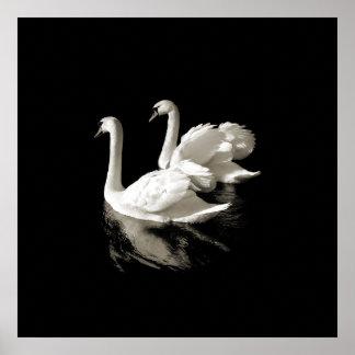 Het Meer van de zwaan - Zwart-wit poster