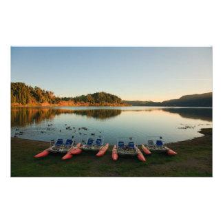 Het meer van Furnas bij zonsondergang Briefpapier