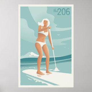 Het Meer Washington van Paddleboarding Poster