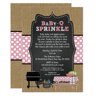 Het meisje BabyQ bestrooit, BBQ Baby shower, BABY Kaart