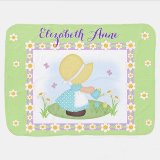 Het Meisje Daisy Flower Lavender Green Floral van Inbakerdoeken