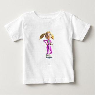 Het Meisje dat van de cartoon een Stok Pogo Baby T Shirts