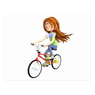 Het Meisje die van de cartoon een Fiets berijden Briefkaart