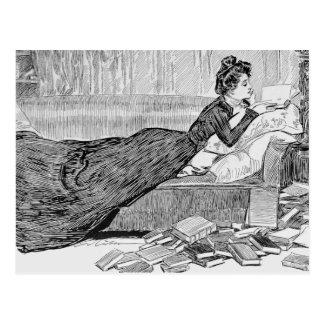 Het Meisje die van Gibson een Boek lezen Briefkaart