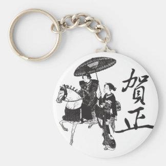 Het Meisje en het Paard van de geisha Sleutelhanger