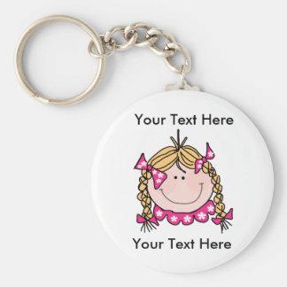 Het Meisje Keychain van het Haar van de Blonde van Sleutelhanger