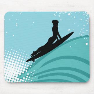 Het Meisje Mousepad van Surfer Muismat