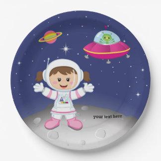 Het meisje van de astronaut papieren bordje