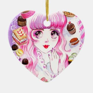 Het Meisje van de bakkerij Keramisch Hart Ornament