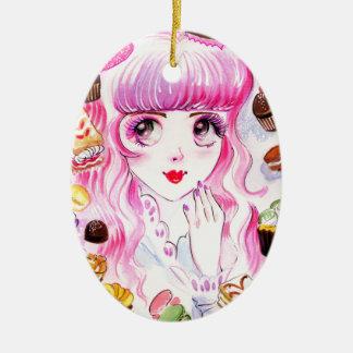 Het Meisje van de bakkerij Keramisch Ovaal Ornament