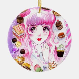 Het Meisje van de bakkerij Rond Keramisch Ornament