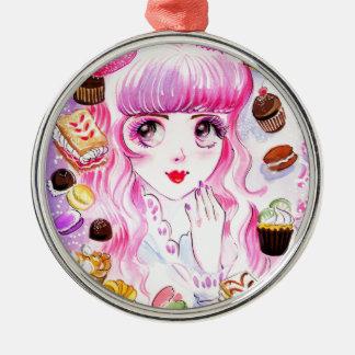 Het Meisje van de bakkerij Zilverkleurig Rond Ornament