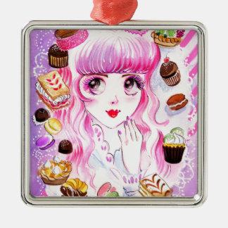 Het Meisje van de bakkerij Zilverkleurig Vierkant Ornament