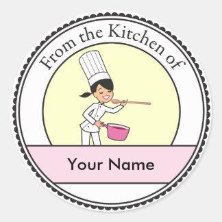 Het Meisje van de Chef-kok van de cartoon Ronde Sticker