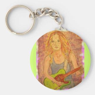 Het Meisje van de gitaar Basic Ronde Button Sleutelhanger