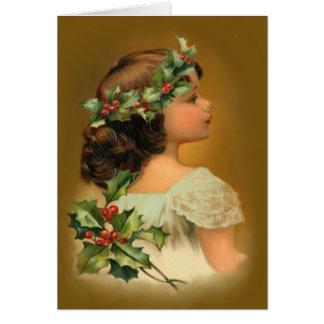 Het Meisje van de Hulst van Kerstmis Kaart