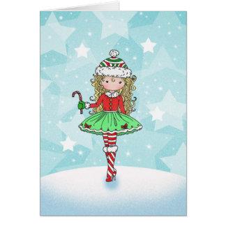Het Meisje van de kerstkaart met Candycane Briefkaarten 0