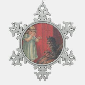 Het Meisje van de Ontvoering van Krampus Tin Sneeuwvlok Ornament