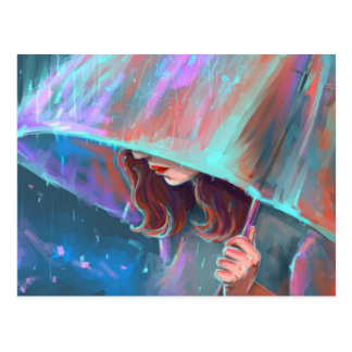 Het Meisje van de Regen van de Paraplu van de Briefkaart