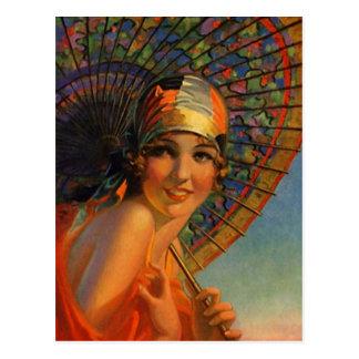 Het Meisje van de Vin van de mandarijn van de Briefkaart