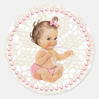 Het Meisje van het baby. Parels en de Sticker van
