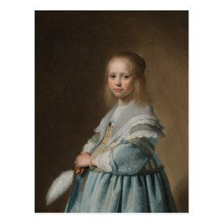 Het meisje van het briefkaart in blauwe verspronck