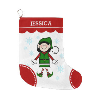 Het Meisje van het elf (zwart haar) Grote Kerstsok