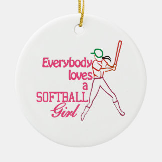 Het Meisje van het softball Rond Keramisch Ornament
