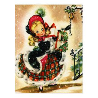Het Meisje van Kerstmis van de plaid en van het Briefkaart