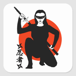 Het Meisje van Ninja Vierkante Sticker