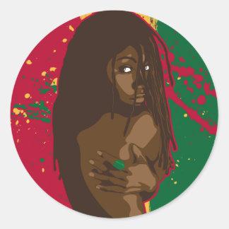 Het Meisje van Rasta Ronde Sticker