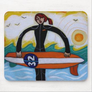 Het Meisje van Surfer mousepad Muismat