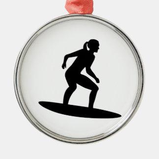 Het meisje van Surfer Zilverkleurig Rond Ornament