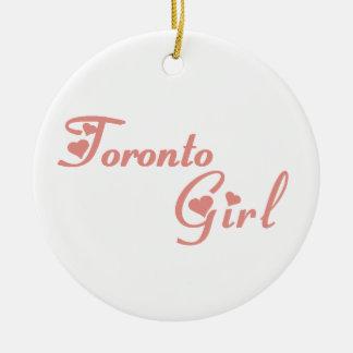 Het Meisje van Toronto Rond Keramisch Ornament