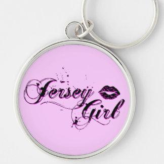 Het Meisje Zilveren Keychain van Jersey Zilverkleurige Ronde Sleutelhanger