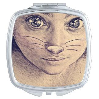 Het meisjes compacte spiegel van het konijntje make-up spiegeltje