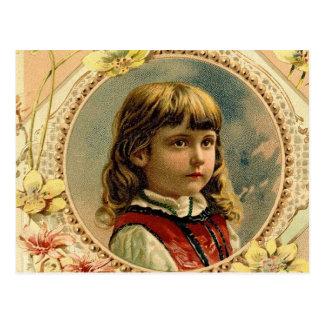 Het meisjes Victoriaans briefkaart van Pasen