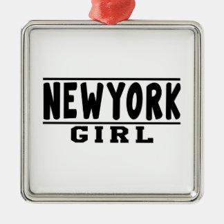 Het meisjesdesign van New York Zilverkleurig Vierkant Ornament