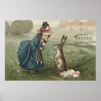 """""""het meisjespop Pasen van konijntjes"""" """"gekleurde Poster"""