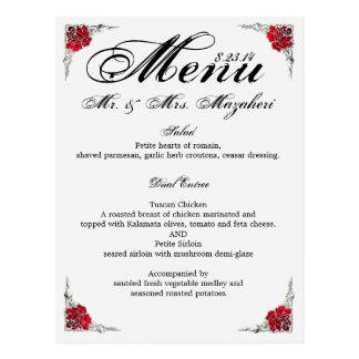 Het Menu Shalicia van het Diner van het huwelijk Briefkaart