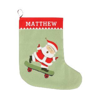 het met een skateboard rijden van Kerstman Grote Kerstsok