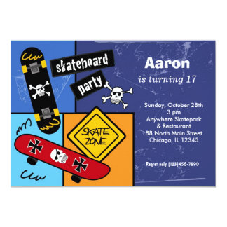 Het met een skateboard rijden van Verjaardag 12,7x17,8 Uitnodiging Kaart