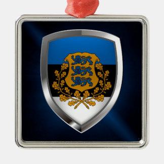 Het MetaalEmbleem van Estland Zilverkleurig Vierkant Ornament