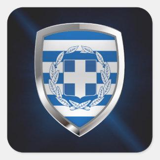 Het MetaalEmbleem van Griekenland Vierkante Sticker